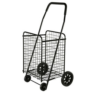 Folding Shopping Cart Jumbo Basket Grocery Laundry Travel W swivel Wheels Black