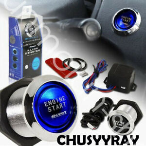 Car Blue Led Engine Start Push Button Switch Ignition Starter Kits Universal Diy
