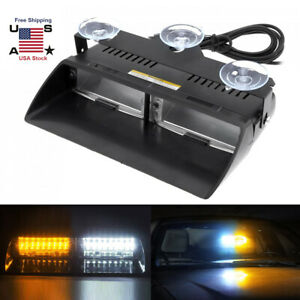 Windshield Led Amber White Emergency Strobe Light Interior Dash Warning Lamp