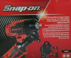 New Snap On 18v Compact Cordless Impact Wrench Ratchet Set W 2 Battery Ck38rix