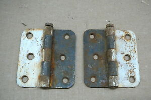 Antique Pair Flat Screen Door Hinges Flat Posts Straight Sides Old Paint 6 2