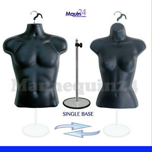 Male Female Torso Body Mannequin Forms Black 2 hangers 1 Metal Stand