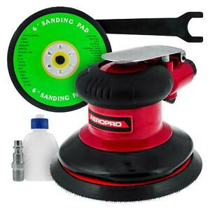 6 Dual Action Random Orbit Air Palm Sander With Psa And Hook Loop Backing Pads