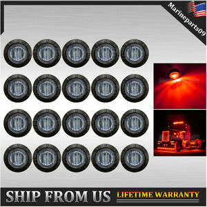 20x Round 3 4 Bullet Red Led Clearance Marker Lights For Truck Trailer Boat Rv