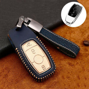 For Mercedes Benz Accessories Leather Car Fob Key Chain Case Cover Holder Shell