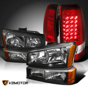 Fits 2003 2006 Chevy Silverado Black Headlights Bumper Lamps Red Led Tail Lights