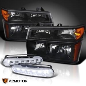 2004 2012 Chevy Colorado Black Headlights Corner Lamps 3w 6 Led Drl Fog Lights