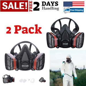 2 Pack Respirator Half Face Gas Mask Painting Spraying High Safety Work Filter