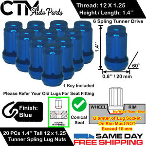 20pc Subaru 1 4 Blue 12x1 25 Tuner Racing Spline Wheel Lug Nut Key For Subaru