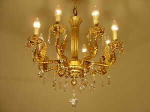 Dangerous Dragon Crystal Gold Chandelier Ceiling Lamp 8 Light Used Antique