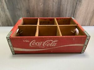 2 by 3 Vintage Red Coca Cola Wood Crate Collectible 16 1/2 in by 11 inches