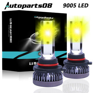 Pair 9005 9145 9140 H10 Led Fog Light 3000k Golden Yellow 22000lm High Power