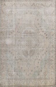 Antique Muted Tebriz Handmade Evenly Low Pile Distressed Large Area Rug 10 X13