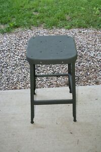 Vintage Industrial Gray Metal Stool 24 High X 14