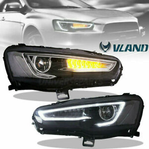 Vland Pair Headlight For 08 17 Mitsubishi Lancer Evo X Bi projector Black New