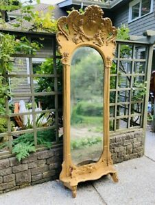 Antique 8 5 Tall Pier Mirror Renaissance Revival Victorian French Cupids Gold