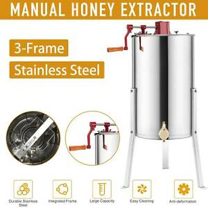 3 frame Manual Honey Extractor Ss Beekeeping Equipment Spinner Drum W Stands