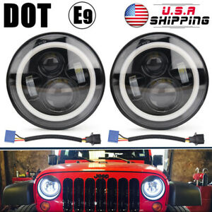 2pcs 7 Inch Round Led Headlights Projector Hi Lo Beam Amber Halo Drl Fit Jeep