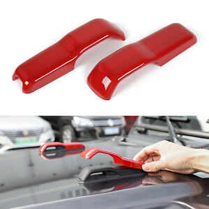 2pcs Hood Hinge Cover Decoration Stickers Trim For Jeep Wrangler Jl Jt 18 Red