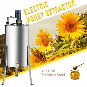 2 frame Electric Honey Extractor Beekeeping Equipment Drum W Stand 140w 24