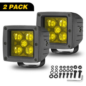 2x3 in Amber Led Work Light Bar Cube Pods Spot Flood Combo Fog Bull Bar Off Road