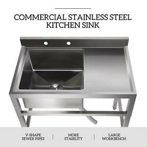 1 Compartment Commercial Restaurant Prep Sink Kitchen Sink W Drain Board