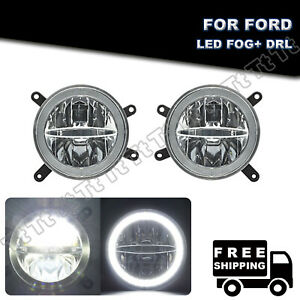 Halo Ring Clear Led Fog drl Daytime Running Light For 2005 2009 Ford Mustang Gt