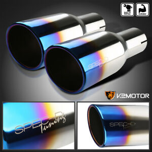 2 5 Inlet 3 875 Outlet Dual Chrome S s Exhaust Muffler Titanium Burnt Blue Tip