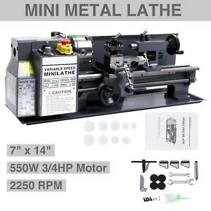 550w 7 X 14 mini Metal Lathe Machine Variable Speed 2250 Rpm Dc Motor Iron Body