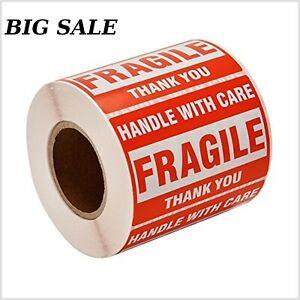 Sjpack 500 Fragile Stickers 1 Roll 2 X 3 Fragile Handle With Care Thank You