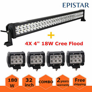 Led Light Bar 32inch 180w Combo 4 18w Pods Flood Truck Boat Offroad Lamp 30 33