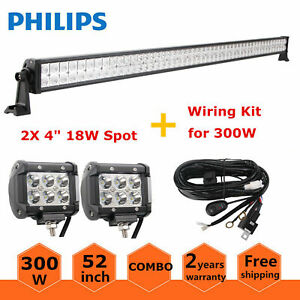 52inch 300w Led Offroad Light Bar Flood Spot Combo 2x 18w Pods Lamps wiring Kit