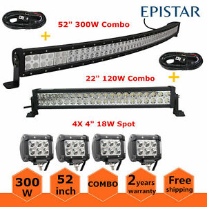 52 inch 300w Curved Led Light Bar Combo 22 4x 18w Offroad Truck Atv 50 54 wires