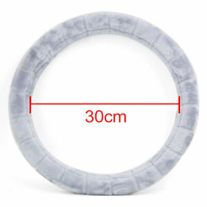Comfort Grips Soft Plush Fuzzy Vehicle Car Steering Wheel Cover Gray For Winter