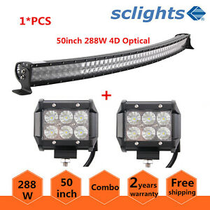 50 Inch 288w Curved Led Work Light Bar Combo Offroad Auto Truck 2x 18w Flood Pod