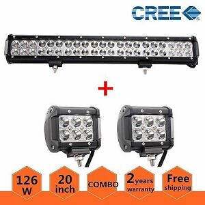 20 Inch 126w Led Work Light Bar Truck Combo Lamp Driving 4wd Atv Fog 2x 18w Pods