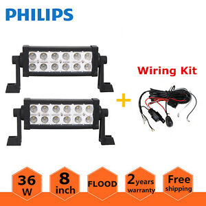 2x 8inch 36w Led Offroad Light Bar Driving Tractor Flood Lamp Cars Wiring Kit
