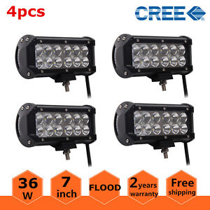 4x 7inch 36w Flood Led Work Light Bar Offroad Driving Fog Lamp Truck 4wd Atv Suv