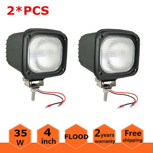 2x Xenon Hid 4inch 35w 12v Flood Work Lights Offroad Atv For Jeep Square Black