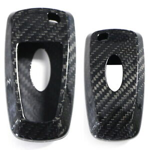 Black Carbon Fiber Key Fob Shell Cover For Ford Edge Fusion Mustang F150 F250
