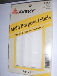 New 3 4 X 1 Inch Avery White 1 000 Labels Self Adhesive Rectangle Usa Made