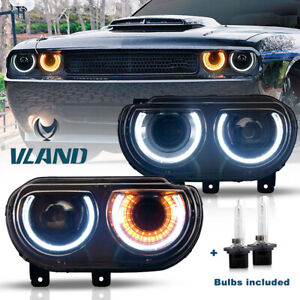 Vland Pair Drl Projector Led Headlight For 2008 2014 Dodge Challenger