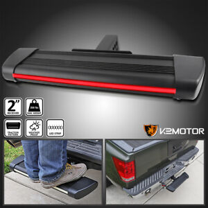 For 2 Receiver Tow Trailer Rear Hitch Step Bar Running Board W Led Brake Light