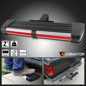 For 2 Receiver Towing Trailer Rear Hitch Step Bar Running Board led Brake Light
