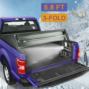5 7 5 8ft 3 Fold Truck Bed Tonneau Cover For 09 19 Ram 1500 Cab Pickup No Box