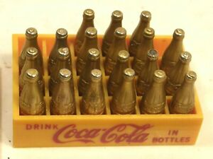 VINTAGE MINIATURE COCA COLA YELLOW CRATE CARRIER W/ 21 GOLD METAL BOTTLES