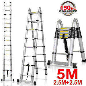 16 5ft Step Ladder Extension Telescoping Lightweight Portable Folding Telescopic