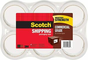 Scotch Commercial Grade Shipping Packaging Tape 6 Rolls Excellent Holding