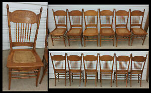 Antique Set Of 6 Oak Larkin Double Pressback Chairs Hand Caned Roomready We Ship