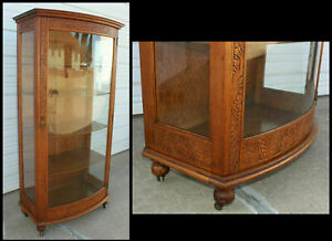 Antique Tiger Oak Curio China Display Cabinet Curved Glass Door W Carvings